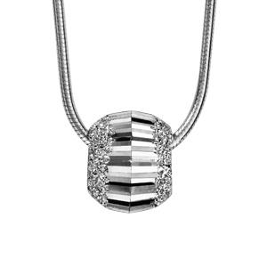 1001 Bijoux - Collier argent rhodié tube rond avec boule diamantée ciselée 40+3cm pas cher