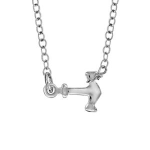 1001 Bijoux - Collier argent rhodié ancre marine 40+5cm pas cher