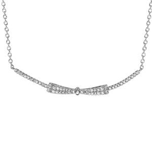 1001 Bijoux - Collier argent rhodié forme noeud papillon oxydes blancs 40+4cm pas cher