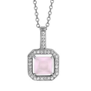 Image of Collier argent rhodié pendentif carré pierre rose et oxydes blancs 40+4cm