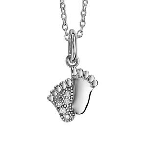 Image of Collier argent rhodié pendentif pieds oxydes blancs 40+4cm