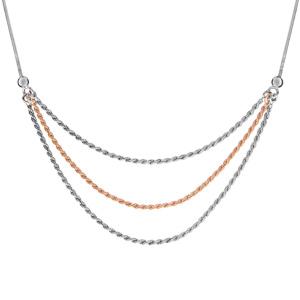 Image of Collier argent rhodié maille serpentine carré 3 chaînes cordes 1 dorure rose 42+3cm