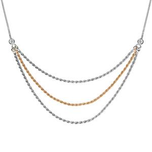 Image of Collier argent rhodié maille serpentine carré 3 chaînes cordes 1 dorure jaune 42+3cm
