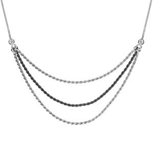 Image of Collier argent rhodié maille serpentine carré 3 chaînes cordes 1 traitement noir 42+3cm