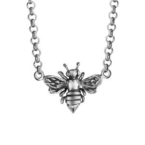 Image of Collier argent rhodié abeille 42+3,5cm