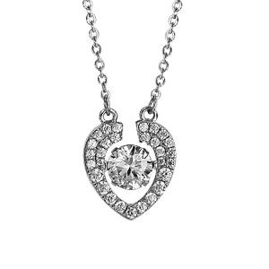Image of Collier argent rhodié pendentif coeur Dancing Stone et oxydes blancs 41,5+3cm
