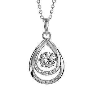 Image of Collier argent rhodié pendentif goutte Dancing Stone et oxydes blancs 41,5+3cm