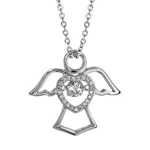 1001 Bijoux - Collier argent rhodié pendentif Ange et coeur Dancing Stone et oxydes blancs 41,5+3cm pas cher