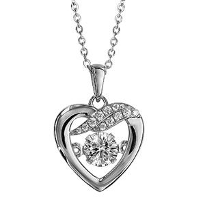 Image of Collier argent rhodié pendentif coeur et 2 barettes Dancing Stone et oxydes blancs 41,5+3cm