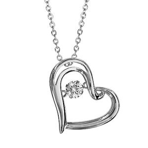 1001 Bijoux - Collier argent rhodié pendentif coeur oxyde blanc Dancing Stone 41,5+3cm pas cher