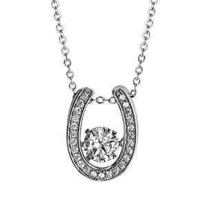 """Image of Collier argent rhodié pendentif fer à cheval """"dancing stone"""" et contour oxydes blancs 41,5+3cm"""