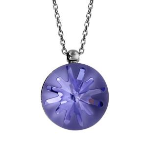 Image of Collier argent rhodié pendentif boule violette 42cm