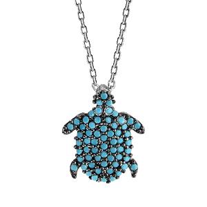 1001 Bijoux - Collier argent rhodié pendentif tortue oxydes turquoises sertis 42+3cm pas cher