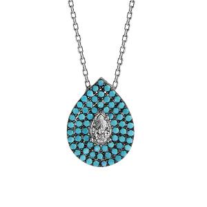 Image of Collier argent rhodié goutte oxydes turquoises et 1oxyde blanc sertis 42+3cm