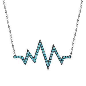 Image of Collier argent rhodié symbole rythme cardiaque oxydes turquoises sertis 42+3cm