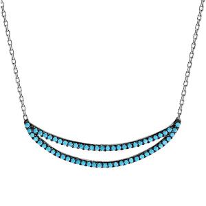 Image of Collier argent rhodié pendentif 2 arceaux oxydes turquoises sertis 42+3cm