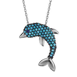 Image of Collier argent rhodié dauphin oxydes turquoises sertis 42+3cm