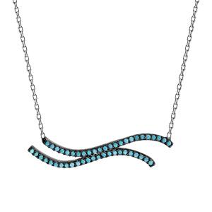 Image of Collier argent rhodié 2 vagues oxydes turquoises 42+3cm