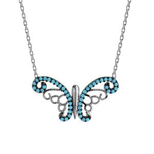 Image of Collier argent rhodié papillon oxydes turquoises sertis 42+3cm