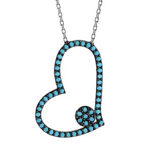 Image of Collier argent rhodié coeur oxydes turquoises sertis 42+3cm