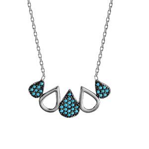 1001 Bijoux - Collier argent rhodié goutte oxydes turquoises sertis et gouttes évidées 42+3cm pas cher