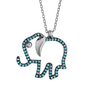 Image of Collier argent rhodié pendentif éléphant oxydes turquoises sertis 42+3cm