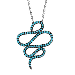 Image of Collier argent rhodié serpent oxydes turquoises sertis 42+3cm