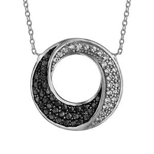 Image of Collier argent rhodié cercle oxydes noirs et blancs 40+4cm