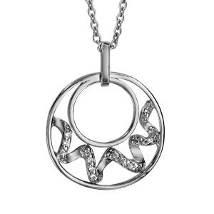 Image of Collier argent rhodié pendentif double cercles vagues oxydes blancs sertis 42+3cm