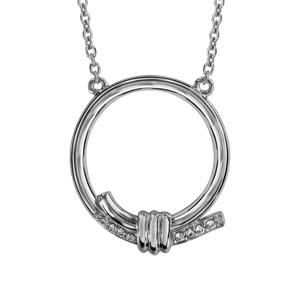 Image of Collier argent rhodié anneau avec oxydes blancs sertis 42+3cm
