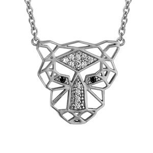 Image of Collier argent rhodié tête de lion oxydes blancs sertis et yeux noirs 42+3cm