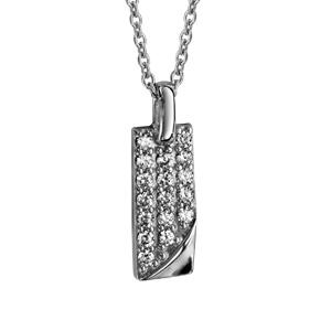 Image of Collier argent rhodié pendentif rectangulaire 3 rangs oxydes blancs sertis 42+3cm