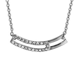 1001 Bijoux - Collier argent rhodié 2 éléments horizontaux oxydes blancs sertis 42+3cm pas cher