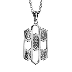 1001 Bijoux - Collier argent rhodié pendentif formes géometriques oxydes blancs sertis 42+3cm pas cher