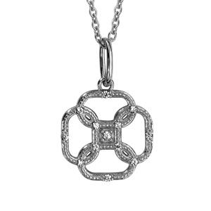 Image of Collier argent rhodié pendentif fleur oxydes blancs 42+3cm