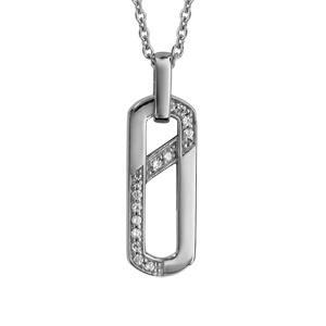 1001 Bijoux - Collier argent rhodié pendentif forme rectangulaire oxydes blancs sertis 42+3cm pas cher