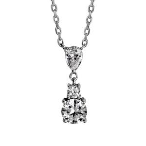 1001 Bijoux - Collier argent rhodié pendant 3 oxydes blancs sertis 42+4cm pas cher
