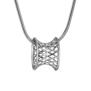 Image of Collier argent rhodié chaîne serpentine diabolo cannage 40+3cm