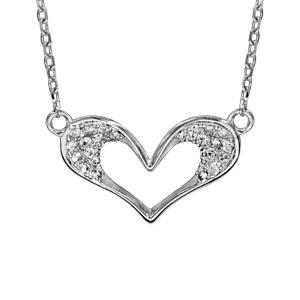 1001 Bijoux - Collier argent rhodié coeur évidé oxydes blancs sertis 40+5cm pas cher
