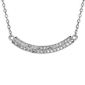 1001 Bijoux - Collier argent rhodié demi lune oxydes blancs sertis 42+3cm pas cher