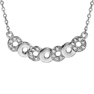 Image of Collier argent rhodié multi cercles oxydes blancs sertis 40+5cm