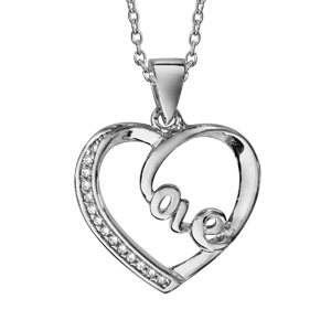 1001 Bijoux - Collier argent rhodié pendentif coeur love avec oxydes blancs sertis 40+5cm pas cher