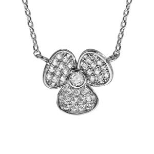 1001 Bijoux - Collier argent rhodié fleur oxydes blancs sertis 40+5cm pas cher