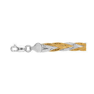 Image of Bracelet argent tressé 2 couleurs
