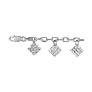 Image of Bracelet multi carrées martelés argent