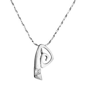 Image of Collier argent rhodié fine chaine et pendentif moderne oxyde zirconium