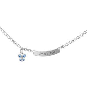 1001 Bijoux - Collier prénom bébé plaque 1/2 lune jaseron et papillon bleu pas cher