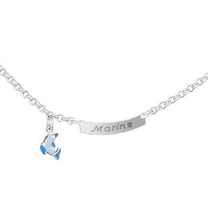 1001 Bijoux - Collier prénom bébé plaque 1/2 lune jaseron et dauphin bleu pas cher