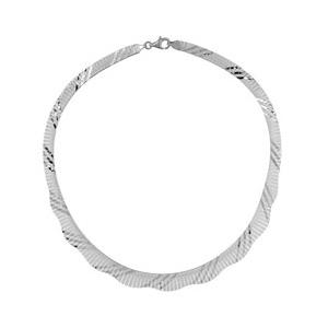 1001 Bijoux - Collier argent rhodié et franges striées pas cher