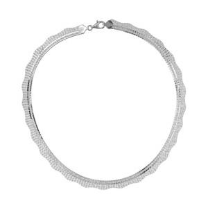 1001 Bijoux - Collier argent rhodié et franges diamantées pas cher